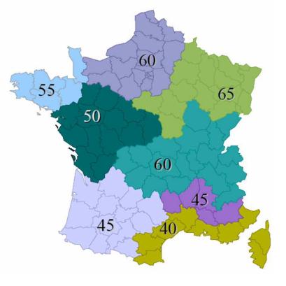 Moyenne du Cep max RT 2012 en fonction de la zone climatique (source : developpement-durable.gouv.fr)